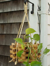 New listing Hanging Rope Garden Porch Planter Octagon hexagon stained Wooden