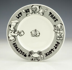 Vintage George Studdy - Bonzo The Dog - Let Us Take Pot-Luck Together Plate