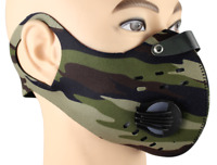 Camo Print Dual Air Breathing Valve Face Mask Cover with Activated Carbon Filter