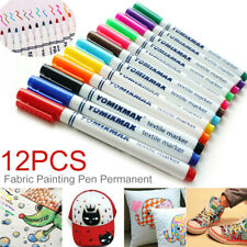 US 12Pcs Fabric Markers Permanent Painting Pens Clothing Textile T-Shirt Shoes