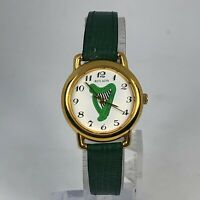 Rovada Womens Green Leather Band White Dial Quartz Analog Wristwatch