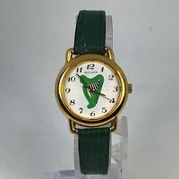 Rovada Womens Green Leather Band White Dial Quartz Analog Wristwatch