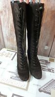 Aerosoles ladies suede lace up knee length boots size 7us/38eu 5ukbrown di