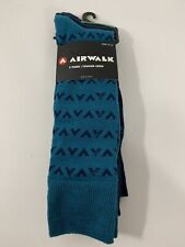 Airwalk 3 pairs pack crew socks navy blue solid teal green print stripes