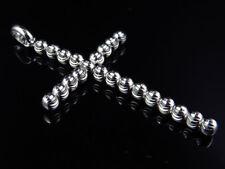 10K White Gold Diamond Cut Cross Beaded Moon Cut Pendant Charm 2.25 Inch