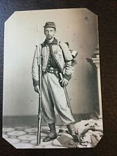 civil war US Soldier With Rifle And Backpack TinType C800RP