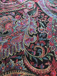 Vintage Red Paisley Shower Curtain 100% Cotton Made By Ames