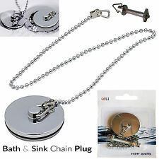 Chrome Metal Premium Bath & Sink Drain Plug Basin Stopper Cap With Long Chain UK