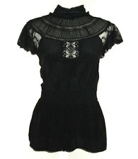 Warehouse Black 100% Silk Victorian High Neck Lace Insert Blouse Top Size 10