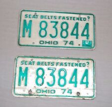 Vintage Ohio 1974 OH License Plate(s) M83844 Matched Set