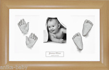 New Baby Casting Kit Twins 3D Casts Christening Gift Beech effect Photo Frame
