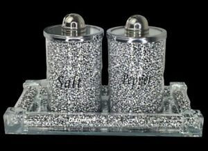 Silver Crushed Crystal Diamond Tray With Salt And Pepper Shakers,Romany Style