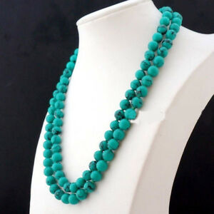 """8mm Natural Blue Old Rock Turquoise Round Beads Gemstone Long Necklace 36"""""""