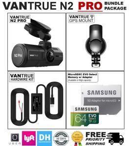 VANTRUE N2 PRO 64GB BUNDLE PACKAGE: Dual Dash Cam, GPS, Hardwire Kit, Samsung SD