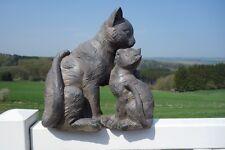 Katzenfamilie Deko Figur Haus Garten 34x32x16cm Polyresin Retro Antiklook NEU cl