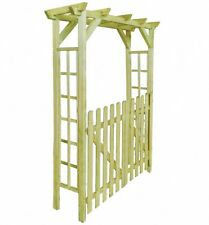 Garden Arch With Gate Trellis Arbour Roses Plants Climbing Support Pergola Wood