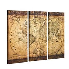 Vintage world map home dcor posters prints ebay decor mi vintage world map canvas wall art prints stretched framed ready to hang gumiabroncs Images