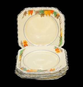 Vintage Myott England honey glazed tall vines set of 6 bread & butter plates
