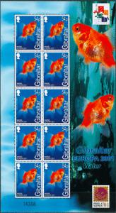 Gibraltar 2001 Europa CEPT. Fauna. Birds. Fish - 4 m/sh MNH - Complete