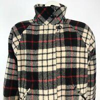 Orvis Women's Medium Wool Check Plaid Full Zip Coat Jacket Black Red