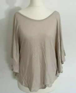 Size 8 Top H&M Batwing Sleeves Metallic CHAMPAGNE Casual Women's Ladies VGC