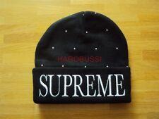 ORIGINALE Supreme NYC studded borchie Beanie Cap Black Box Logo Berretto Taglia unica NUOVO