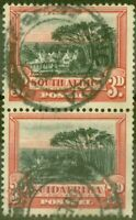 South Africa 1930 3d Black & Red SG35a P. 14 x 13.5 Fine Used Vert Pair