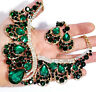 Choker Statement Necklace Earring Set Rhinestone Crystal Green