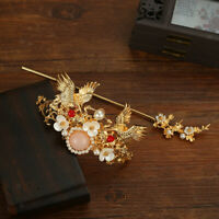 Chinese Style Crane Crown Headwear Antique Style Hairpin Stick Bun Maker