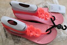 NEW Crocs Serena Embellished Flip Sandals Coral Melon Womens Girls Size 5 W7