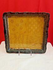 Pier 1 Lg Decorative Platter Wicker & Flower Edge Design Not For Food Dark Brown