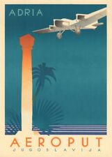 Yugoslavia for Adria, 1920-30's, Reproduction Vintage Art Deco Travel Poster