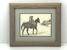 Don Greytak Mini-Image Framed Print 2 Young Girls Riding A Horse Western Saddle
