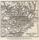 B0823 Washington - Carta geografica d'epoca - 1890 Vintage map
