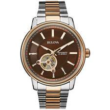 Bulova Men's Automatic Open Heart Window Rose Gold Tone 45mm Watch 98A140