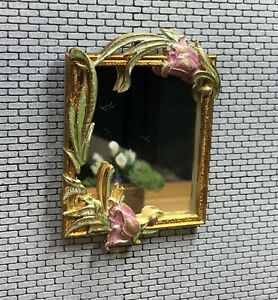 1:12 Dollhouse miniature floral wall mirror on golden frame