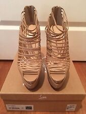 CHRISTIAN LOUBOUTIN ZOULOU 160MM BEIGE STRAPPY PLATFORM PUMPS SIZE 42