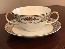 Crown Imperial Czechoslovakia Double-Handled Teacup & Saucer, ROSARI Pattern