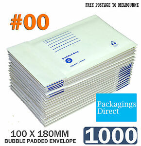 1000x Bubble Envelope SIZE 00 100 x 180mm Padded Bag Mailer