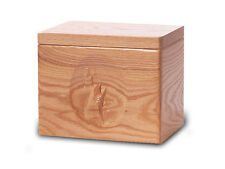 Wood Cremation Urn. Standard model with a Natural Finish and a Fish Image