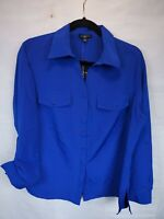 Notations Womens Plus Size 1X Blue Button Down Top Long Sleeve Blouse