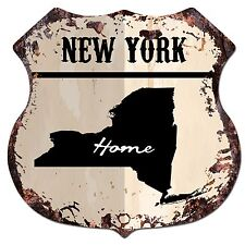 BP0147 HOME NEW YORK MAP Shield Rustic Chic Sign Bar Shop Home Decor Gift