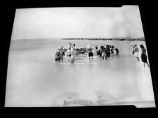 1940s Nassau Beach FIsherman fishing Nets Old Photo Negative 121A