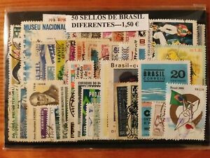 LOTE DE 50 SELLOS DIFERENTES USADOS DE BRASIL