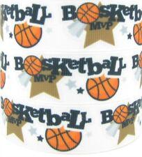 2 metres Basketball MVP 22mm Printed Grosgrain Ribbon 7/8 RNB