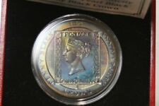 TONED POBJOY MINT ISLE OF MAN 1990 BLACK PEARL PENNY 1 CROWN SILVER COIN T7