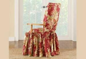 New Sure Fit Ballad Bouquet long arm dining Chair Slipcover Crimson washable