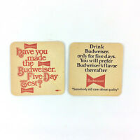Budweiser Bud Beer Coasters Five Day Test Set Of 2 Double Sided Man Cave Bar