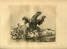 GOYA «El buitre carnivoro» Grabado (engraving) orig nº 76 Desastres (Disasters)