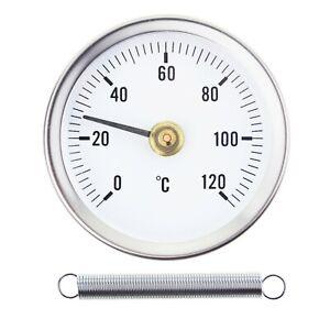 HOT WATER PIPE THERMOMETER 0-120°C 63 MM DIAL BIMETAL TEMPERATURE GAUGE IN-022